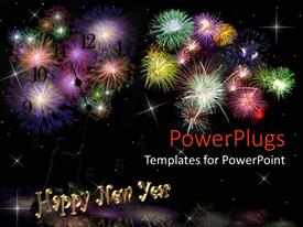 PPT theme with lots of fire works with happy new year text