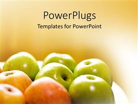 Beautiful PPT theme with lots of freshly plucked green and red colored apples