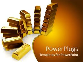 PPT theme consisting of lots of gold bars in piles  on a white surface