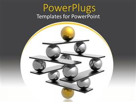 Audience pleasing PPT theme featuring lots of gold and black 3D balls forming a pyramid shape