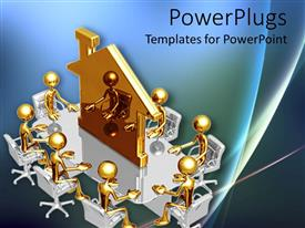 Presentation theme enhanced with lots of gold colored characters sitting on a round table