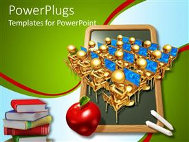 PPT theme enhanced with lots of golden characters wit an apple and books
