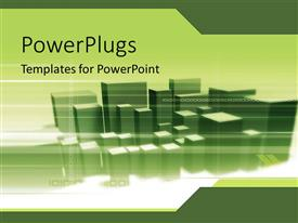 Elegant PPT theme enhanced with lots of green 3D buildings together over a white surface