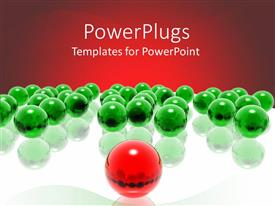 Amazing PPT layouts consisting of lots of green colored balls with a red leading ball