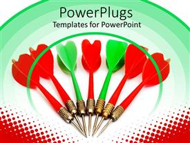 Amazing PPT theme consisting of lots of green and white darts on a white background