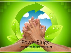 Elegant slides enhanced with lots of hands clasped together with a recycle symbol behind