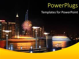 PPT theme having lots of high buildings with lights and a ship by the sea side