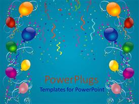 Audience pleasing PPT theme featuring lots of multi colored balloons and ribbons on a blue colored background