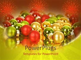 PPT layouts with lots of multi colored Christmas balls with three sparks of fireworks
