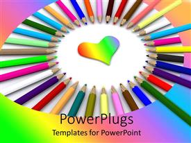 Presentation design having lots of multi colored color pencils arranged in a circle
