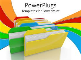Presentation theme enhanced with lots of multi colored folders on a white background