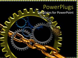 PPT layouts featuring lots of multi colored gears with a silver and gold chain