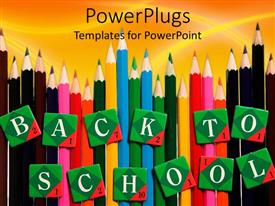 Colorful presentation having lots of multi colored pencils with text which spells out the word