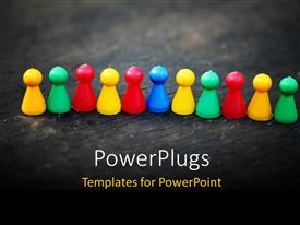 Slide deck with lots of multi colored pin heads arranges on a line