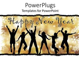 Presentation theme featuring lots of people jumping for joy with a Happy New Year text