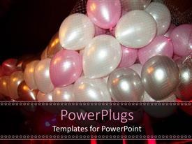 Beautiful PPT theme with lots of pink, white, and silver colored party balloons