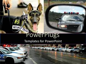 Slides consisting of lots of police vehicles in lines and a security dog