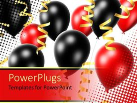 Amazing PPT theme consisting of lots of red and black party balloons with gold colored ribbons
