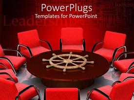 Elegant presentation theme enhanced with lots of red chairs around a brown round center table