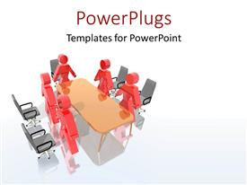 PPT layouts enhanced with lots of red colored characters standing round a meeting table