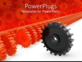 Colorful presentation theme having lots or red colored gears with a black one in front