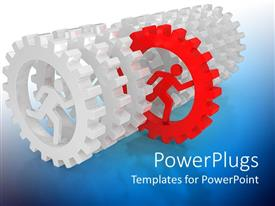 PPT layouts having lots of silver colored gears with a red one in the middle