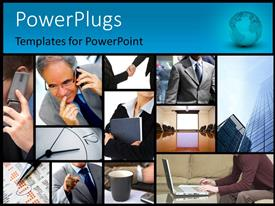 Elegant PPT layouts enhanced with lots of tiles with business people making calls and working