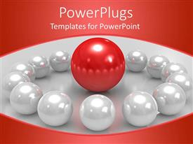 PPT theme enhanced with lots of white pearls with a red one in the middle