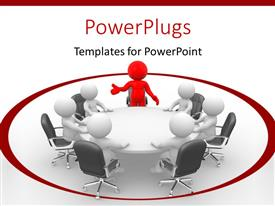 PPT layouts having lots of  white and red 3D characters sitting on a round table