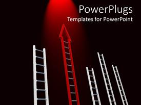 Elegant PPT theme enhanced with lots of white and red ladders on a black background