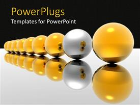 Amazing PPT theme consisting of lots of yellow balls with a different silver colored ball
