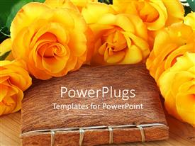 Beautiful presentation design with lots of yellow flowers arranged round a hand made book
