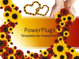 Audience pleasing presentation theme featuring lots of yellow and red colored flowers with two love shapes
