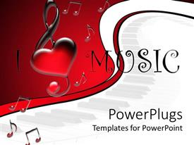 PPT layouts consisting of i love music text surrounded by music tones in red-white background