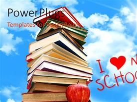 Slide deck enhanced with i love my school concept with pile of books with sky