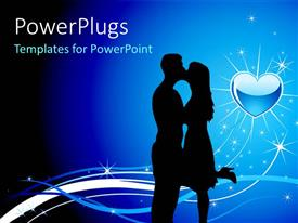Slide deck having love symbol in background and light sparkles with silhouette of couple kissing