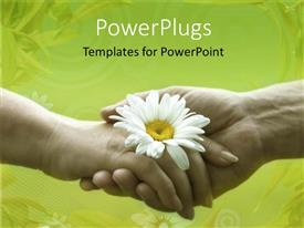 PPT layouts enhanced with a male and female hand shaking with  white flower