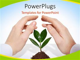 Presentation theme enhanced with male hands offering protection for a new sprout with blue color