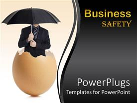 Slide set having man in black suit holding umbrella standing in eggshell