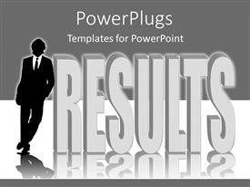 Beautiful presentation theme with man in black suit and tie standing against results