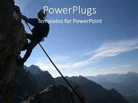 Beautiful PPT theme with man climbing mountain with back pack and waist rope