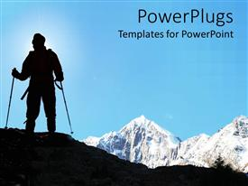 Slide deck having man climbing mountains in black color, snow big mountains in the background