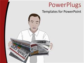 PPT layouts featuring man dressed in formal attire goes through pages of newspaper