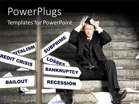 5000 unemployment powerpoint templates w unemployment themed slide set consisting of man in financial crisis puts hand over head with signpost of financial template size toneelgroepblik Choice Image