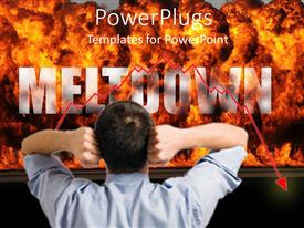 PPT theme with man with hands on head as he stares at fire explosion