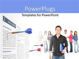 PPT theme enhanced with a man holding a book and smiling with three darts