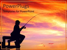 Elegant PPT layouts enhanced with a man holding a fishing hook on an orange sunset view