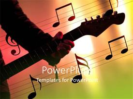 Presentation design with a man holding a guitar with lots of musical notes