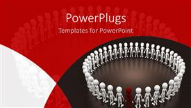 Beautiful PPT theme with a circle of white 3D characters with a red one in between