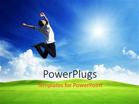 Colorful PPT theme having a man jumping happily in the air on a plain grass field
